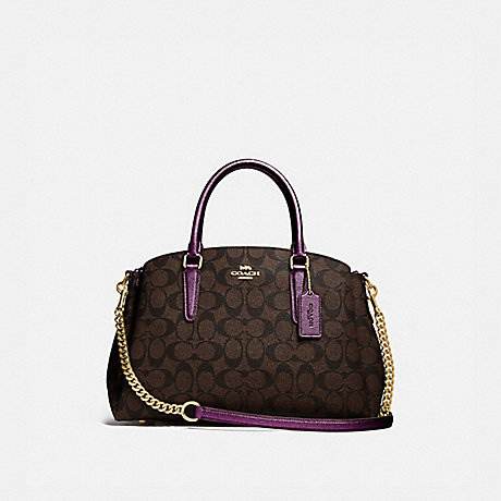 COACH F73292 SAGE CARRYALL IN SIGNATURE CANVAS IM/BROWN-METALLIC-BERRY