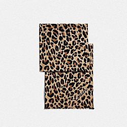 COACH F73306 - LEOPARD PRINT OBLONG SCARF NEUTRAL