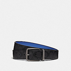 WIDE HARNESS CUT-TO-SIZE REVERSIBLE BELT IN SIGNATURE CANVAS - F73308 - BLACK/BLUE/BLACK ANTIQUE NICKEL