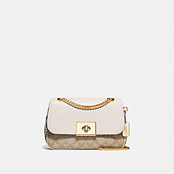 CASSIDY CROSSBODY IN SIGNATURE CANVAS - F73310 - LIGHT KHAKI/CHALK/GOLD