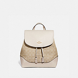 ELLE BACKPACK IN SIGNATURE JACQUARD - F73313 - LIGHT KHAKI/CHALK/IMITATION GOLD