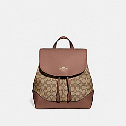 ELLE BACKPACK IN SIGNATURE JACQUARD - F73313 - KHAKI/SADDLE 2/GOLD