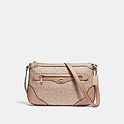 IVIE MESSENGER IN SIGNATURE JACQUARD - F73326 - LIGHT KHAKI/BEECHWOOD/GOLD