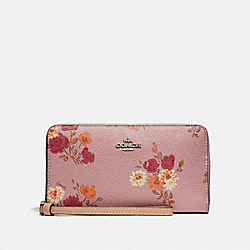 COACH F73333 Large Phone Wallet With Painted Peony Print CARNATION MULTI/LIGHT KHAKI/SILVER