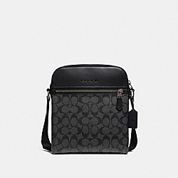 COACH F73336 Houston Flight Bag In Signature Canvas CHARCOAL/BLACK/BLACK ANTIQUE NICKEL