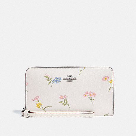 COACH LARGE PHONE WALLET WITH MULTI FLORAL PRINT - CHALK MULTI/SILVER - F73337
