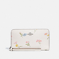 COACH F73337 Large Phone Wallet With Multi Floral Print CHALK MULTI/SILVER