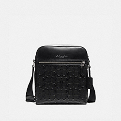 COACH F73338 Houston Flight Bag In Signature Leather BLACK/BLACK ANTIQUE NICKEL