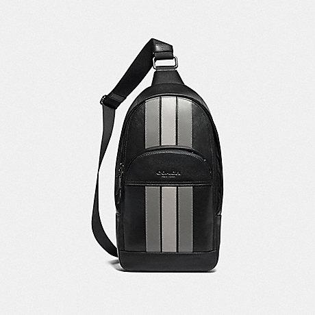 COACH F73344 HOUSTON PACK WITH VARSITY STRIPE BLACK ANTIQUE NICKEL/BLACK/ GREY/ CHALK