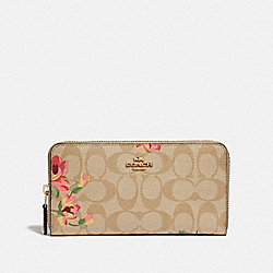 COACH F73345 - ACCORDION ZIP WALLET IN SIGNATURE CANVAS WITH LILY PRINT LIGHT KHAKI/PINK MULTI/IMITATION GOLD