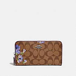 COACH F73345 - ACCORDION ZIP WALLET IN SIGNATURE CANVAS WITH LILY PRINT KHAKI/PURPLE MULTI/SILVER