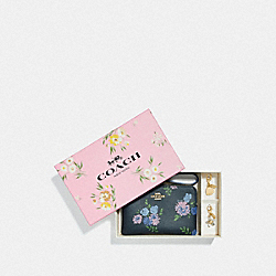 COACH F73346 Boxed Corner Zip Wristlet With Painted Peony Print NAVY MULTI/GOLD
