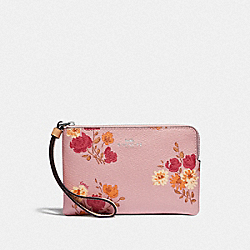COACH F73348 Corner Zip Wristlet With Painted Peony Print CARNATION MULTI/LIGHT KHAKI/SILVER