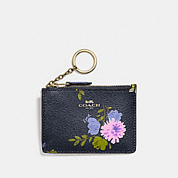 COACH F73349 Mini Skinny Id Case With Painted Peony Print NAVY MULTI/IMITATION GOLD