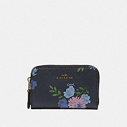 COACH F73350 Small Zip Around Coin Case With Painted Peony Print NAVY MULTI/IMITATION GOLD