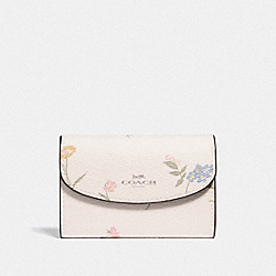 COACH F73354 Key Case With Multi Floral Print CHALK MULTI/SILVER