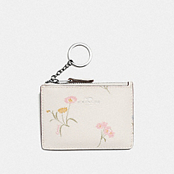 COACH F73355 Mini Skinny Id Case With Multi Floral Print CHALK MULTI/SILVER