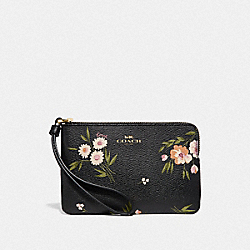 COACH F73363 Corner Zip Wristlet With Tossed Daisy Print BLACK PINK/IMITATION GOLD