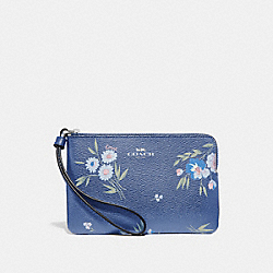 COACH F73363 Corner Zip Wristlet With Tossed Daisy Print DARK PERIWINKLE/MULTI/SILVER