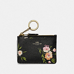 COACH F73364 Mini Skinny Id Case With Tossed Daisy Print BLACK PINK/IMITATION GOLD