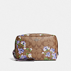 COACH F73365 Boxy Cosmetic Case In Signature Canvas With Lily Print KHAKI/PURPLE MULTI/SILVER