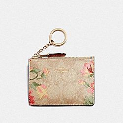 COACH F73367 Mini Skinny Id Case In Signature Canvas With Lily Print LIGHT KHAKI/PINK MULTI/IMITATION GOLD