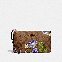 LARGE WRISTLET IN SIGNATURE CANVAS WITH LILY PRINT - F73368 - KHAKI/PURPLE MULTI/SILVER