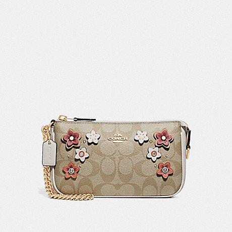 COACH F73371 LARGE WRISTLET 19 IN SIGNATURE CANVAS WITH FLORAL APPLIQUE LIGHT KHAKI MULTI/IMITATION GOLD