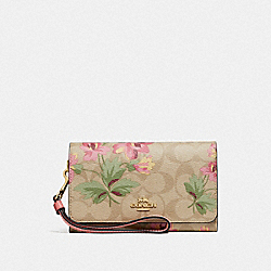 COACH F73373 Flap Phone Wallet In Signature Canvas With Lily Print LIGHT KHAKI/PINK MULTI/IMITATION GOLD