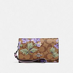 COACH F73373 Flap Phone Wallet In Signature Canvas With Lily Print KHAKI/PURPLE MULTI/SILVER