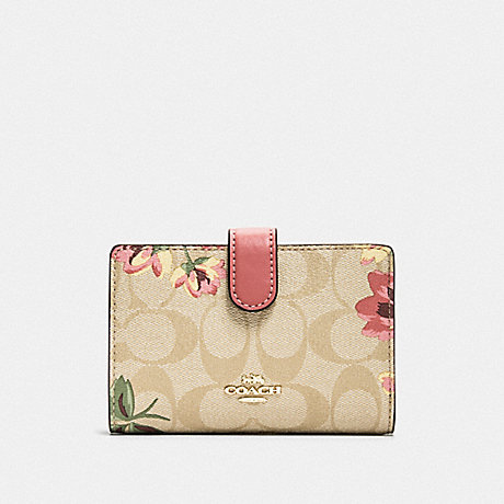 COACH F73374 MEDIUM CORNER ZIP WALLET IN SIGNATURE CANVAS WITH LILY PRINT LIGHT KHAKI/PINK MULTI/GOLD
