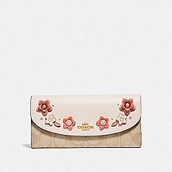 COACH F73376 - SLIM ENVELOPE WALLET IN SIGNATURE CANVAS WITH FLORAL APPLIQUE LIGHT KHAKI MULTI/IMITATION GOLD