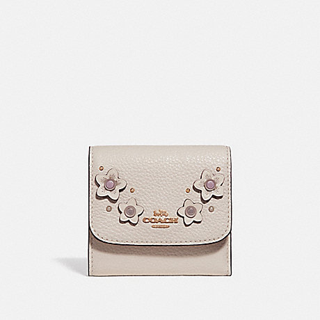 COACH F73381 SMALL WALLET WITH FLORAL APPLIQUE CHALK-MULTI/IMITATION-GOLD