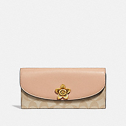 COACH F73382 - SLIM ENVELOPE WALLET IN SIGNATURE CANVAS LIGHT KHAKI/BEECHWOOD MULTI/IMITATION GOLD