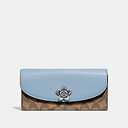 COACH F73382 Slim Envelope Wallet In Signature Canvas KHAKI/BLUE MULTI/SILVER