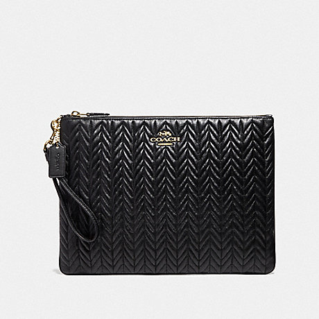 COACH LARGE WRISTLET 30 WITH QUILTING - BLACK/IMITATION GOLD - F73383