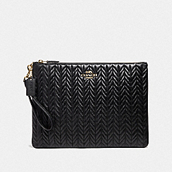 COACH F73383 Large Wristlet 30 With Quilting BLACK/IMITATION GOLD