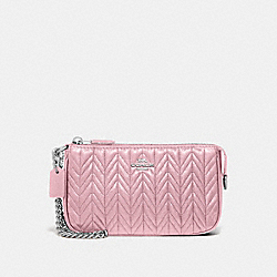COACH F73385 Large Wristlet 19 With Quilting CARNATION/SILVER