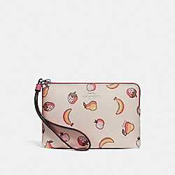 COACH F73390 Corner Zip Wristlet With Mixed Fruit Print CHALK MULTI/PEONY/SILVER
