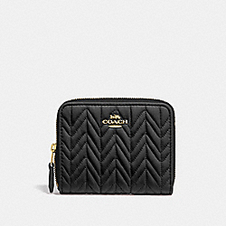 COACH F73393 Small Zip Around Wallet With Quilting BLACK/IMITATION GOLD