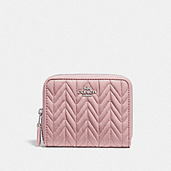 COACH F73393 - SMALL ZIP AROUND WALLET WITH QUILTING CARNATION/SILVER