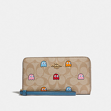 COACH F73394 LARGE PHONE WALLET IN SIGNATURE CANVAS WITH PAC-MAN GHOSTS PRINT LIGHT KHAKI MULTI/GOLD