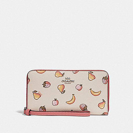COACH LARGE PHONE WALLET WITH MIXED FRUIT PRINT - CHALK MULTI/PEONY/SILVER - F73395