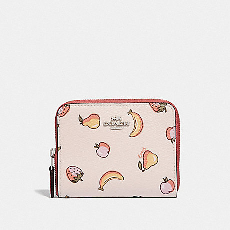 COACH F73396 SMALL ZIP AROUND WALLET WITH MIXED FRUIT PRINT CHALK MULTI/PEONY/SILVER