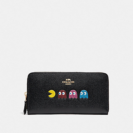 COACH F73397 ACCORDION ZIP WALLET WITH PAC-MAN ANIMATION BLACK/MULTI/GOLD