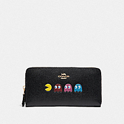 ACCORDION ZIP WALLET WITH PAC-MAN ANIMATION - F73397 - BLACK/MULTI/GOLD