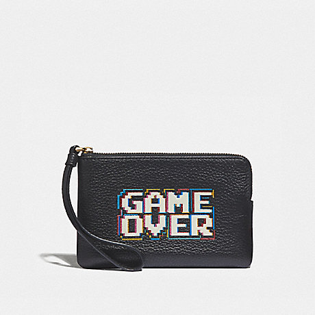 COACH F73399 CORNER ZIP WRISTLET WITH PAC-MAN GAME OVER BLACK/MULTI/GOLD