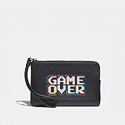 COACH F73399 - CORNER ZIP WRISTLET WITH PAC-MAN GAME OVER BLACK/MULTI/GOLD