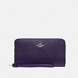 COACH F73413 - LARGE PHONE WALLET DARK PURPLE/IMITATION GOLD