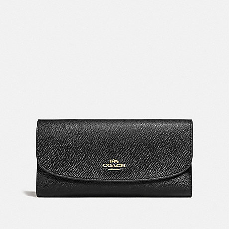COACH F73414 CHECKBOOK WALLET BLACK/IMITATION GOLD